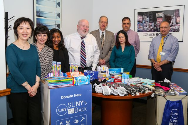 Members of the business office making their donations to the SUNY's Got Your Back Camapign