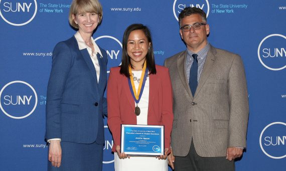 SUNY Chancellor Kristina Johnson, Jennifer Nguyen, Assistant Vice President for Student Affairs Vito Cavallaro
