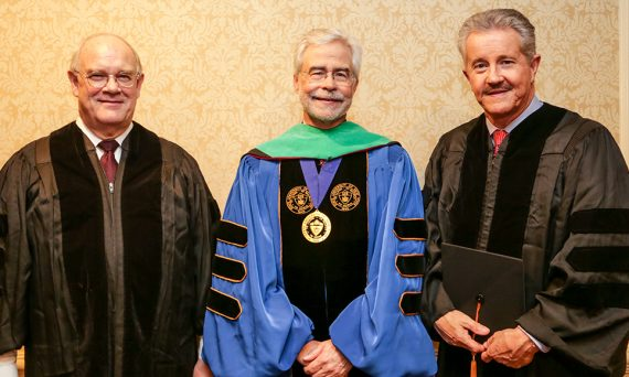 Dr. Paul Sieving, President David A. Heath, and Dr. Max Gomez