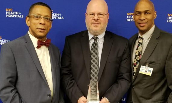 (L-R) Dr. David John, East New York chief medical officer, Dr. Lloyd Haskes and William Perkinson, East New York associate executive director during NYC Health + Hospitals' Doctors' Day Celebration at Baruch College, April 30, 2019.