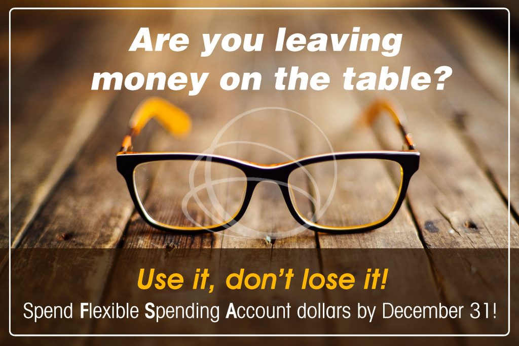 Flexible Spending Account banner with pair of glasses