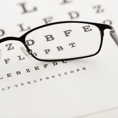 glasses on a test chart