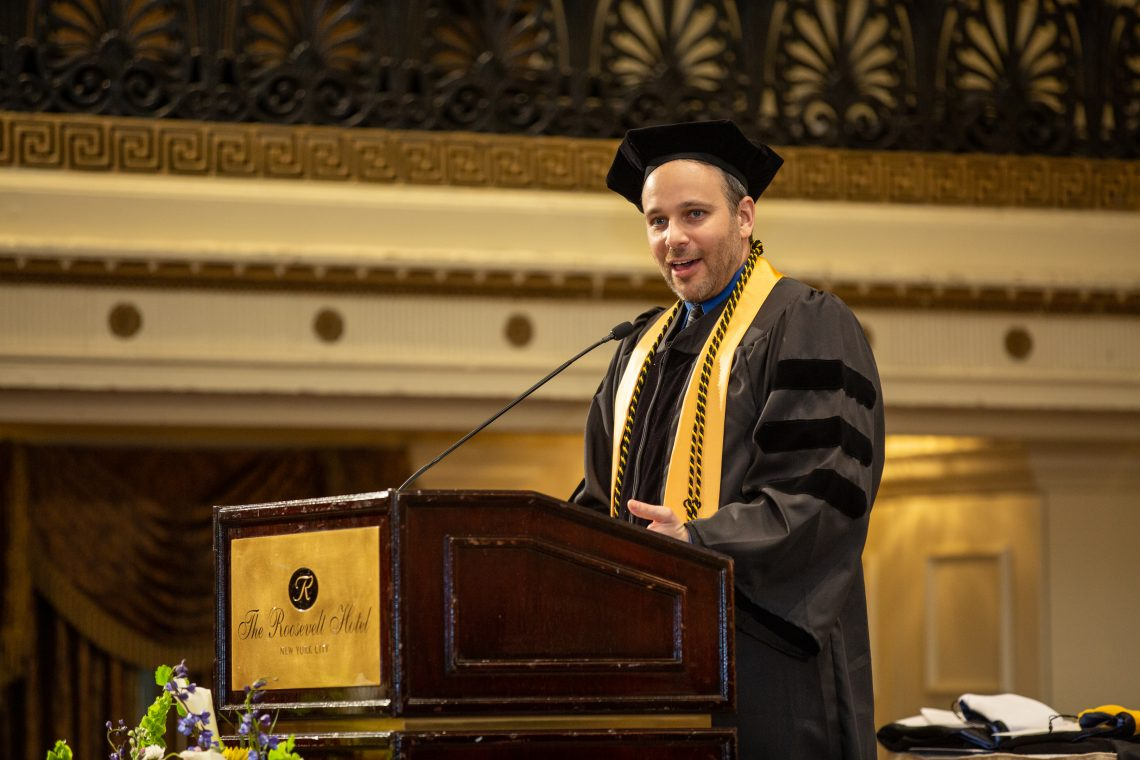 SUNY Optometry Class of 2019 president Dr. Jason Grygier brings greetings, The Roosevelt Hotel, Manhattan, May 23, 2019