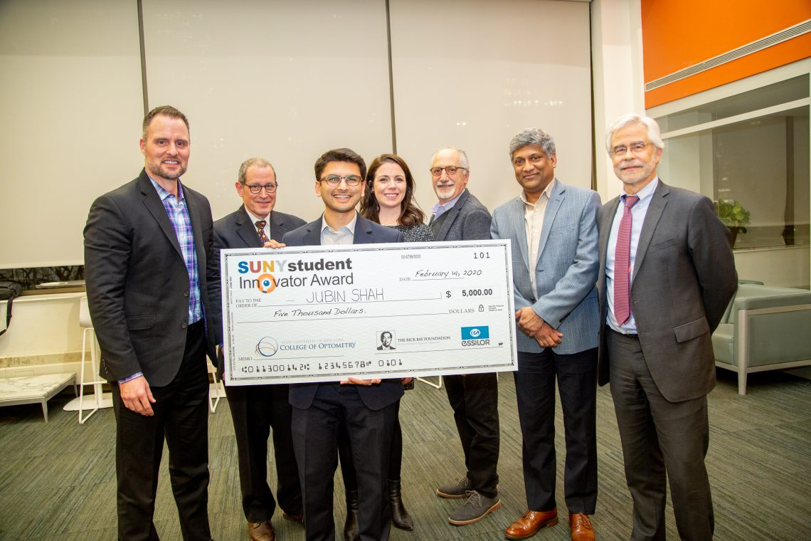 Jubin Shah, Class of 2021, with panel of judges and Dr. Heath from 2020 Student Innovator Award