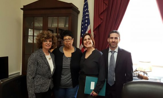 Dr. Alexandra Benavente-Perez (second from right) with staffers in Rep. Yvette Clarke's Capitol Hill office