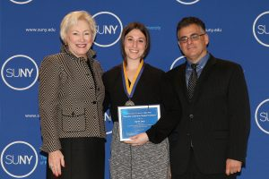 Karen Levy with SUNY Chancellor Nancy L. Zimpher and Vito Cavallaro, Assistant Vice President for Student Affairs