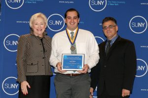 Derek Radich with SUNY Chancellor Nancy L. Zimpher and Vito Cavallaro, Assistant Vice President for Student Affairs