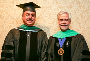 Dr. Ramanthan Raju (left) with President Heath
