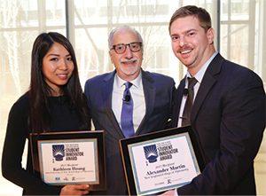 Kathleen Hoang, left, with Marc Ferrara and Alex Martin