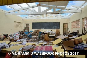 Classroom wrecked by hurricane damage