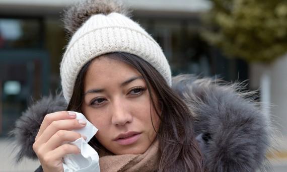 Sad Tearful Woman Holding A Handkerchief