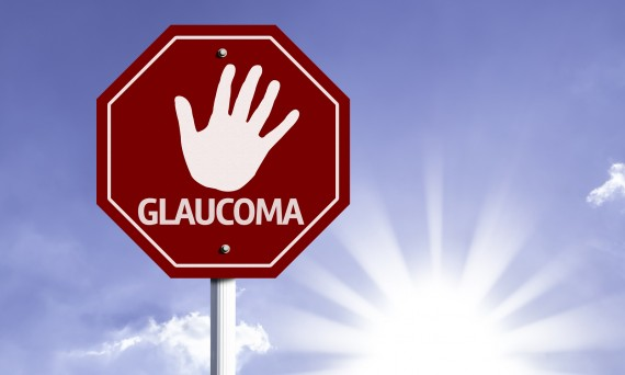 Stop Glaucoma red sign with sun background
