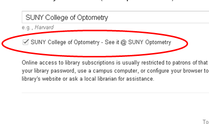 Google Scholar Library Search with SUNY Optometry checked
