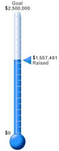 Blue Thermometer showing money raised