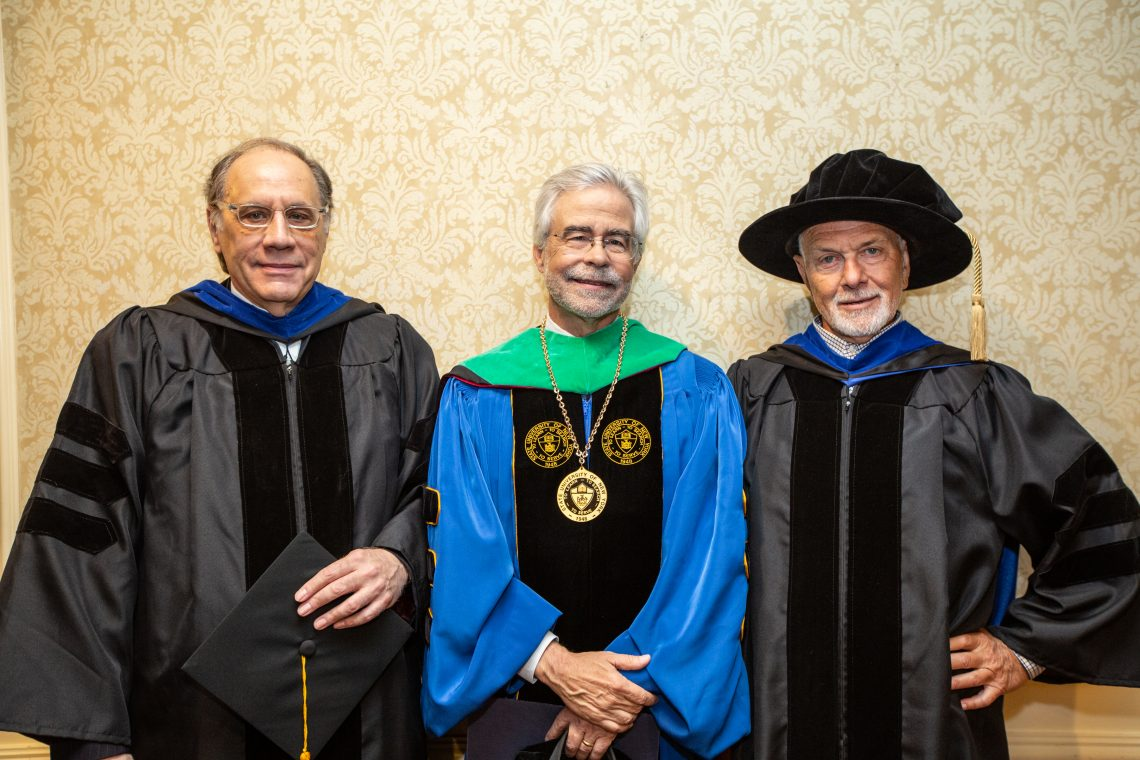 SUNY Optometry 2019 Presidential Medallion recipients Dr. Kenneth Ciuffreda and Dr. Philip Kruger with College president David A. Heath, The Roosevelt Hotel, Manhattan, May 23, 2019
